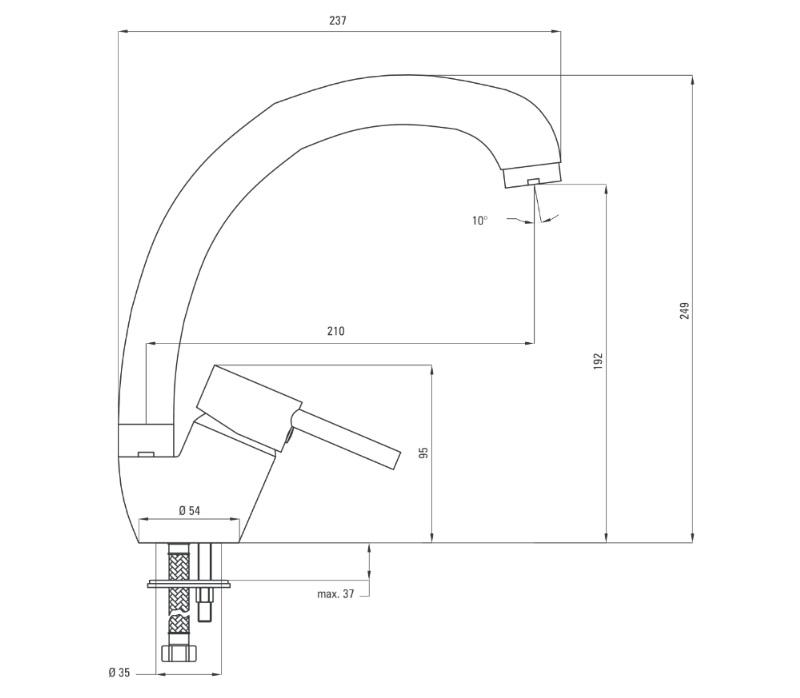 BCA 066M Ūdens maisītājs Deante Aster specifikācija