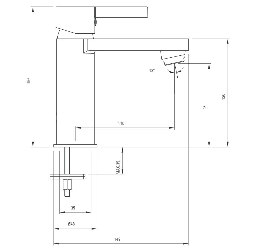 BCF 021M Ūdens maisītājs izlietnei Deante Floks specifikācija