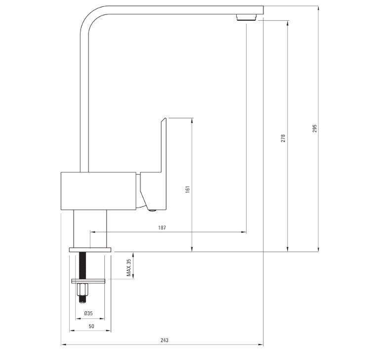 BCT 063M Ūdens maisītājs Deante specifikācija