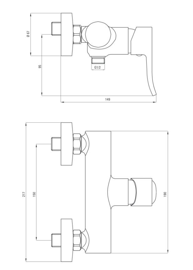 BCW 040M ūdens maisītājs dušai Deante werbena specifikācija