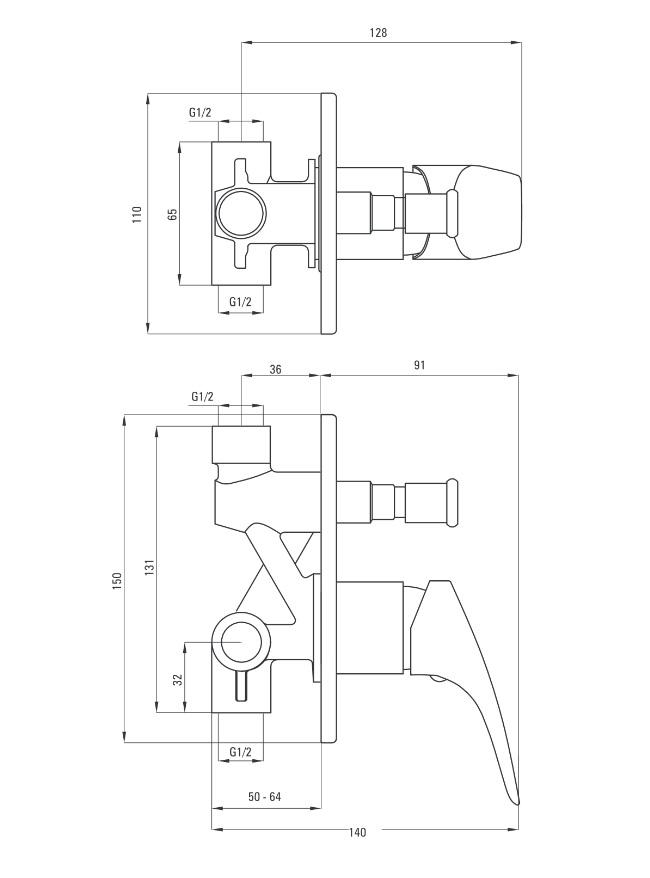 BCY 044P Ūdens maisītājs dušai Deante Cynia specifikācija