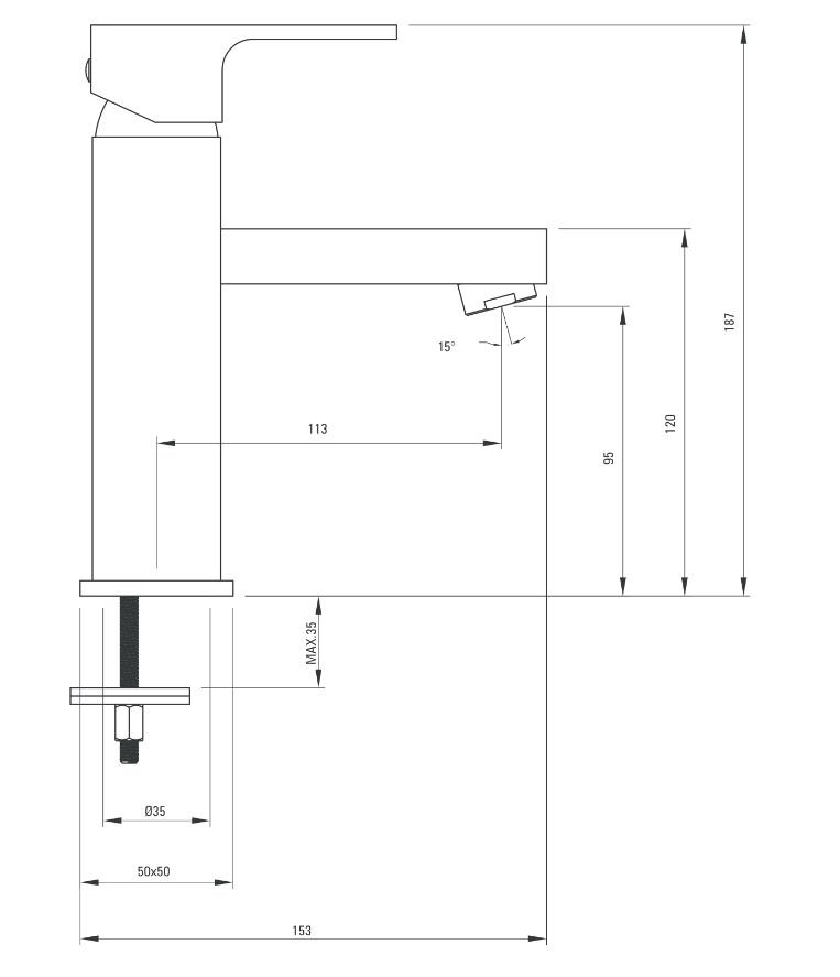 BCZ W210 Ūdens maisītājs Deante specifikācija