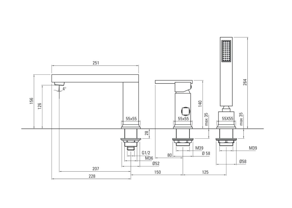 BDD 013M Ūdens maisītājs Deante Cubic stiprināms uz vannas malas specifikācija