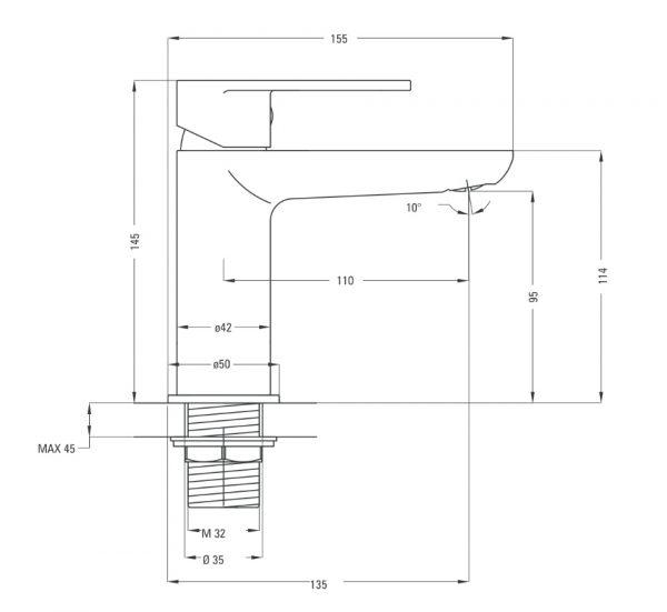 BGA 021M Ūdens maisītājs Deante Alpinia specifikācija