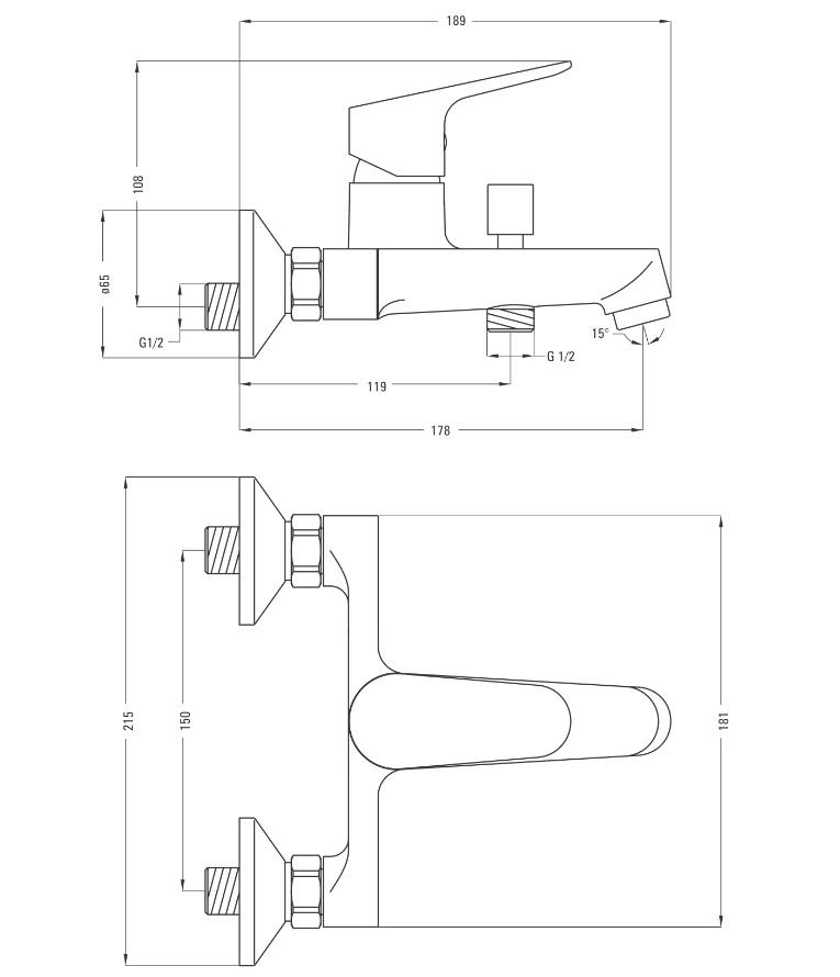 BGC 010M Ūdens maisītājs Deante Chaber specifikācija