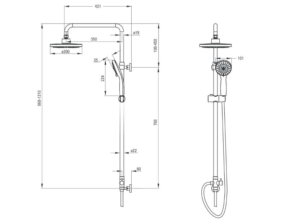 NAC 019K Dušas komplekts Deante Peonia specifikācija