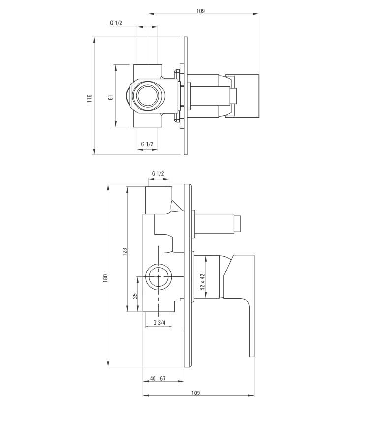 BCZ W44P ūdens maisītājs Anemon specifikācija