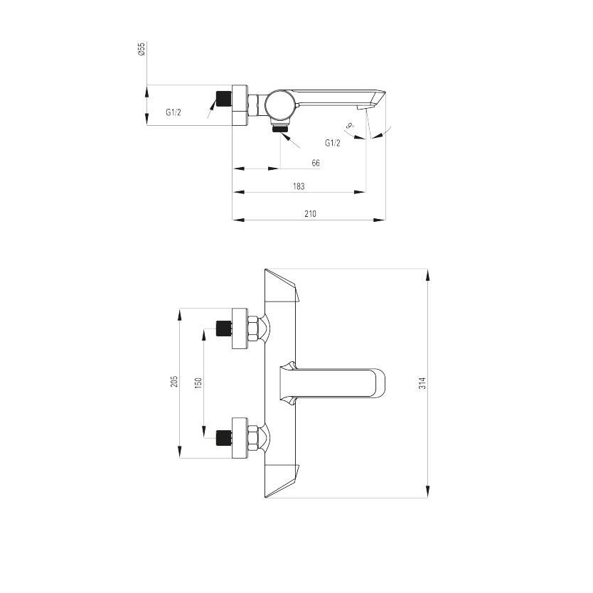 BQA 010M ūdens maisītājs Arnika specifikācija