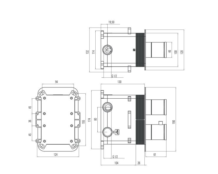 BXX 0ECT ūdens maisītājs Box specifikācija