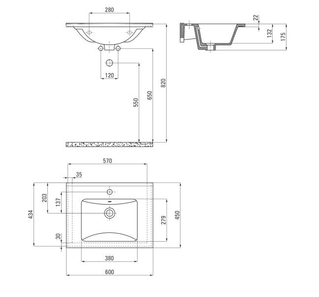 CDI 6UXM Izlietne Floks specifikācija