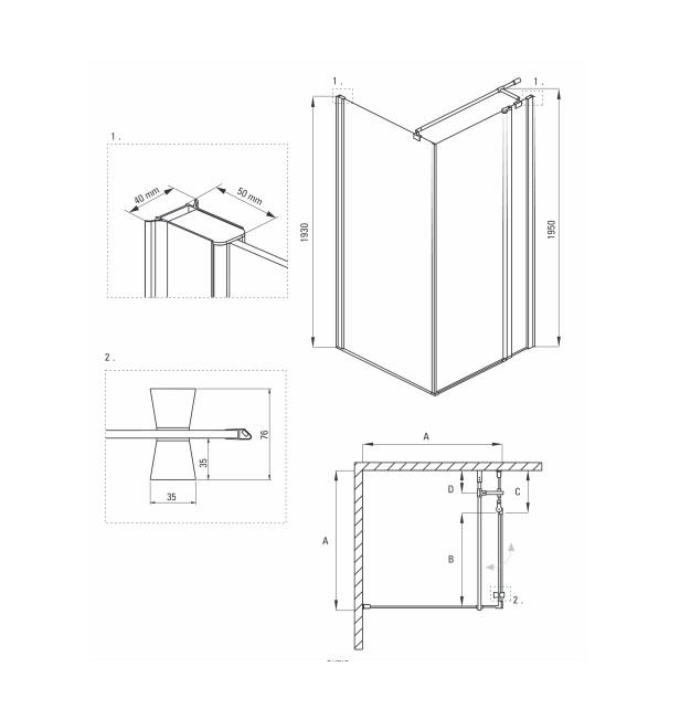 KTI 044P dušas kabīne Cubic specifikācija