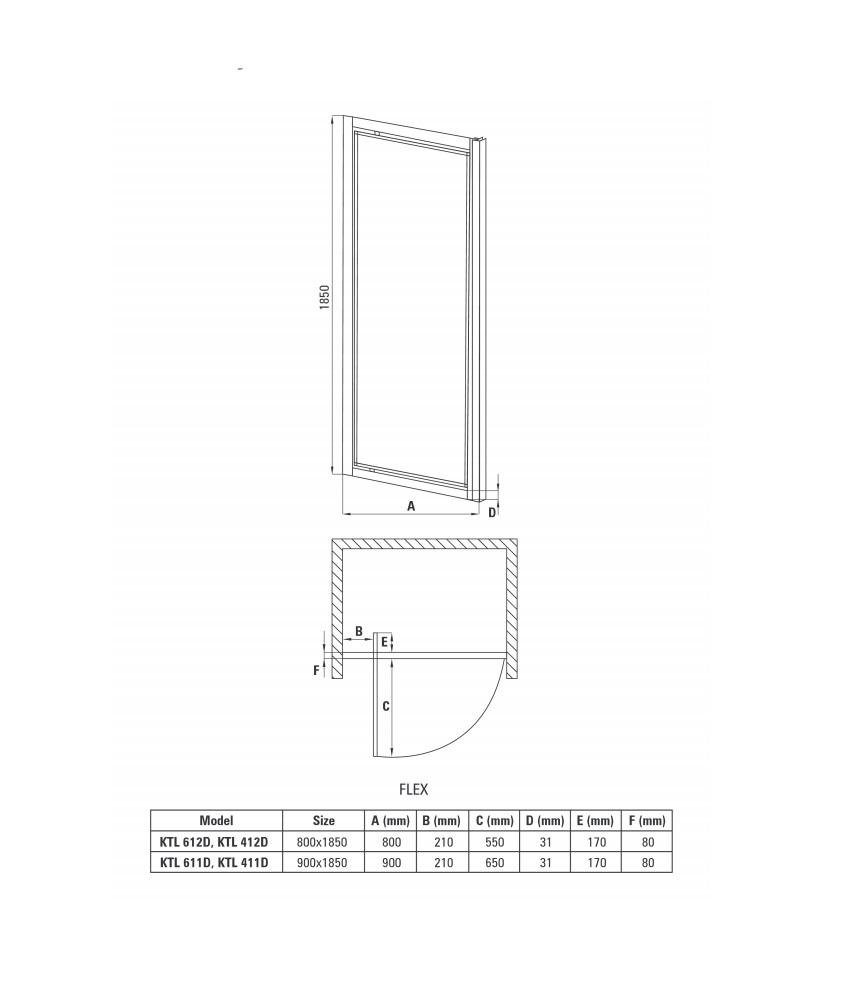KTL 412D dušas durvis Flex specifikācija