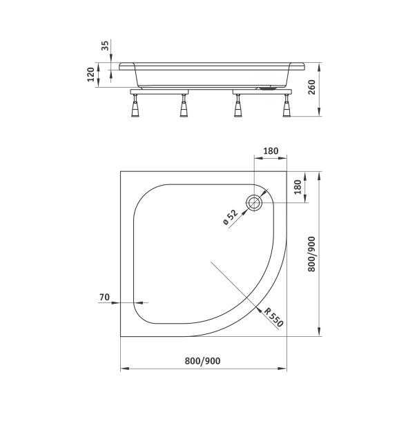 KTU 032B dušas paliknis standard plus II specifikācija