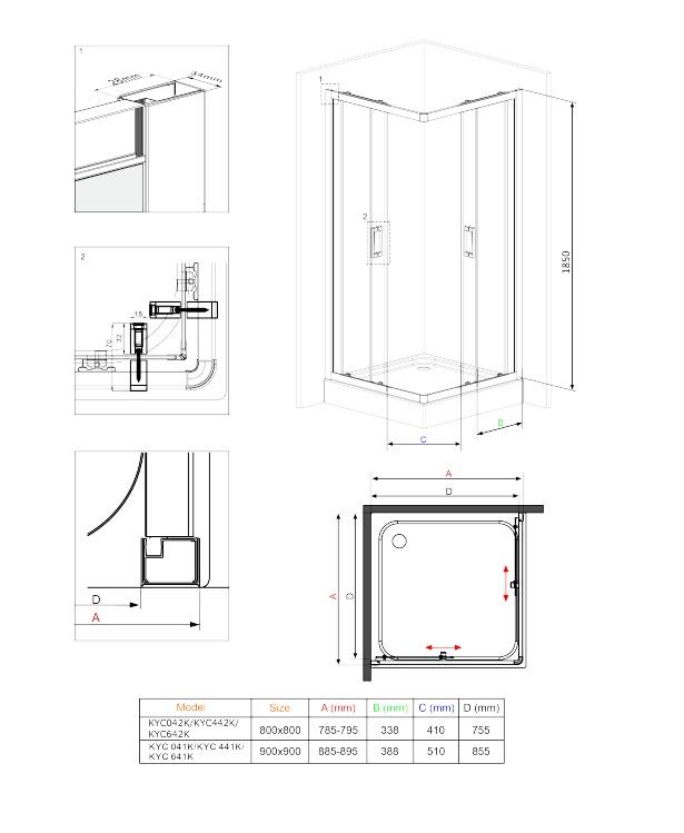 KYC 441X dušas kabīne Funkia specifikācija