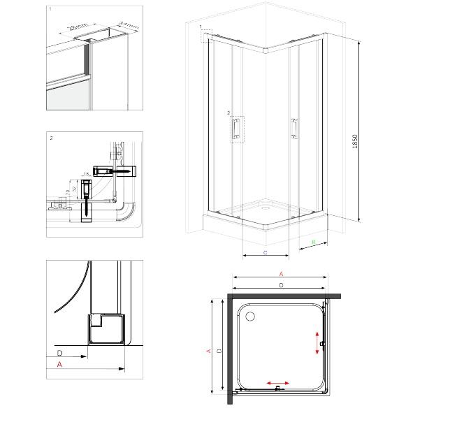 KYC 641K dušas kabīne Funkia specifikācija