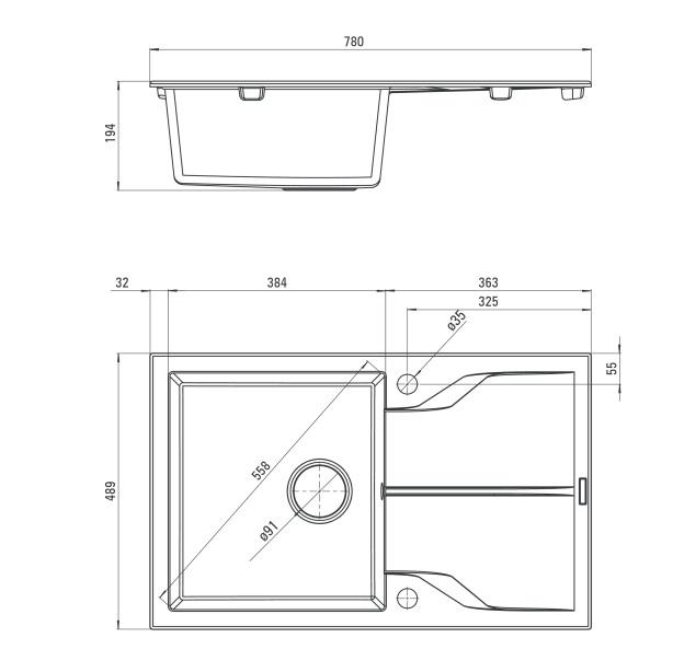 ZQN G113 Izlietne Andante specifikācija