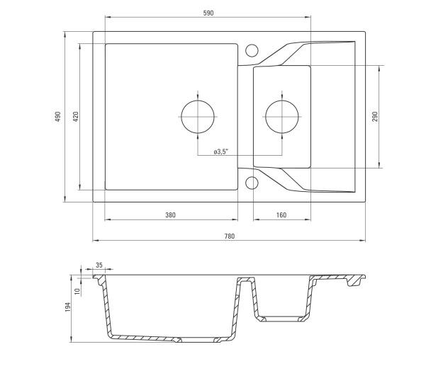 ZQN G513 izlietne Andante specifikācija