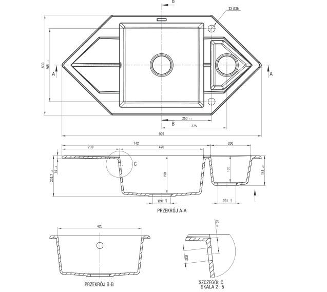 ZQP S653 izlietne Hexon specifikācija